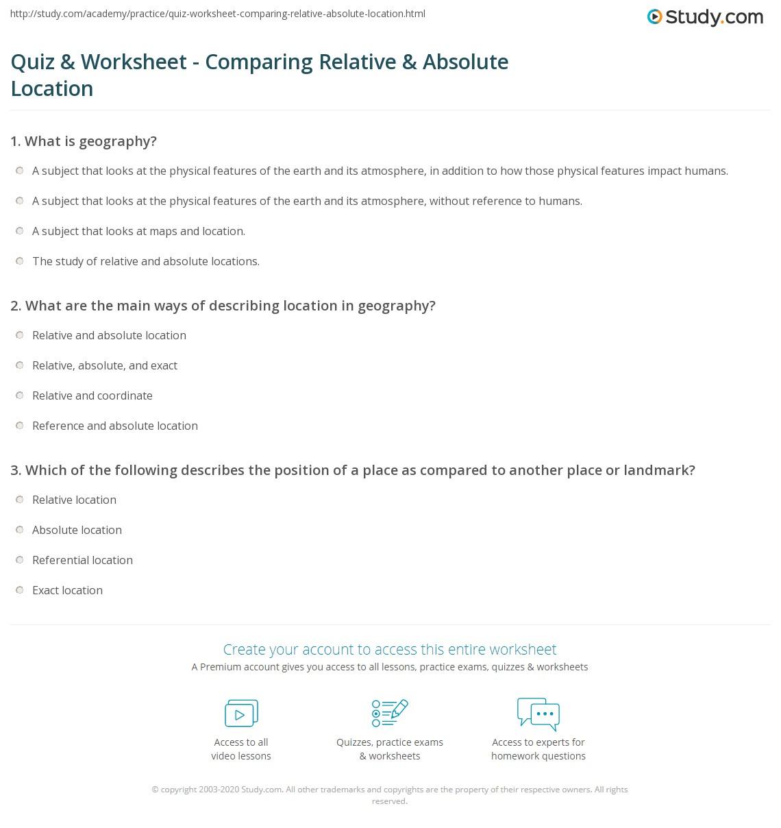 Worksheets Absolute Location Worksheet quiz worksheet comparing relative absolute location study com print vs in geography worksheet