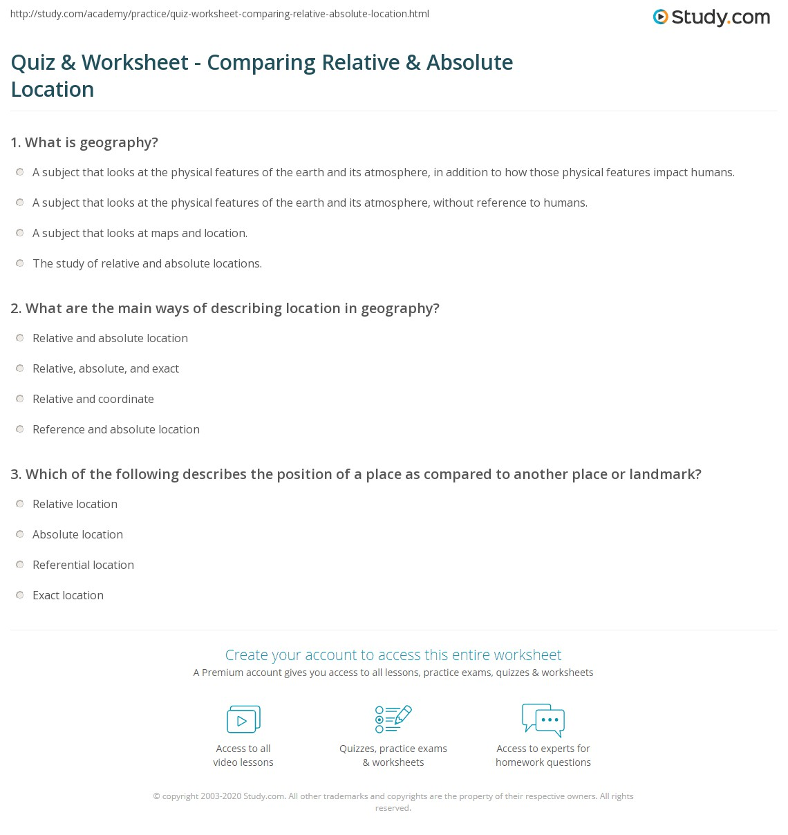 quiz worksheet comparing relative absolute location. Black Bedroom Furniture Sets. Home Design Ideas