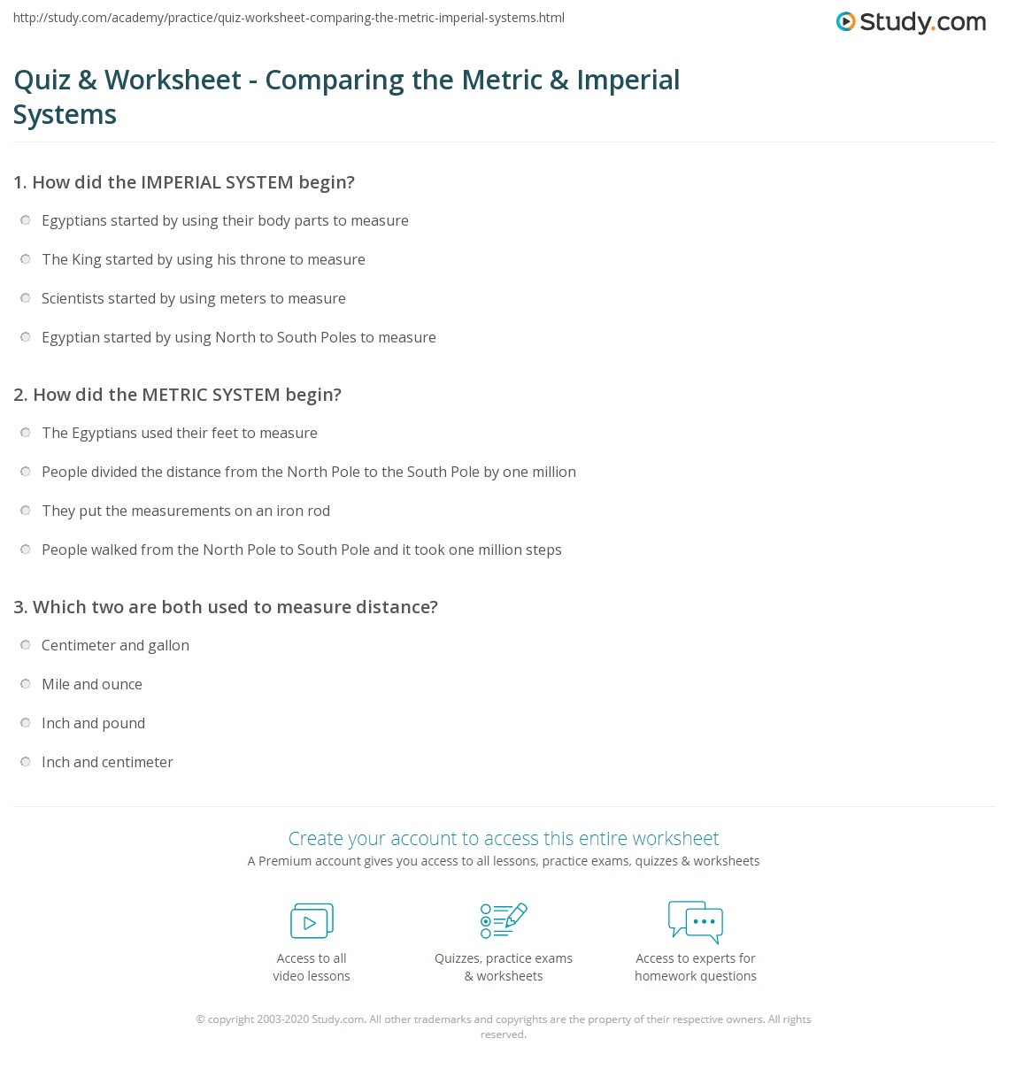 Quiz Worksheet Comparing the Metric Imperial Systems – Metric System Worksheets