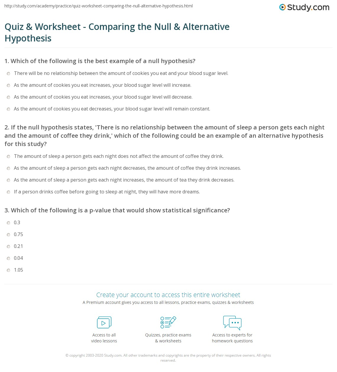 Quiz Worksheet Comparing The Null Alternative Hypothesis