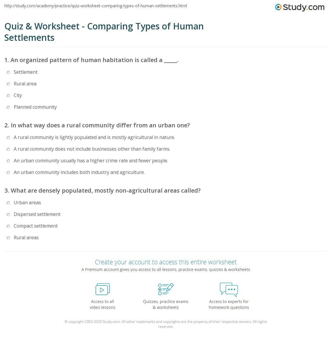 Quiz & Worksheet - Comparing Types of Human Settlements | Study.com