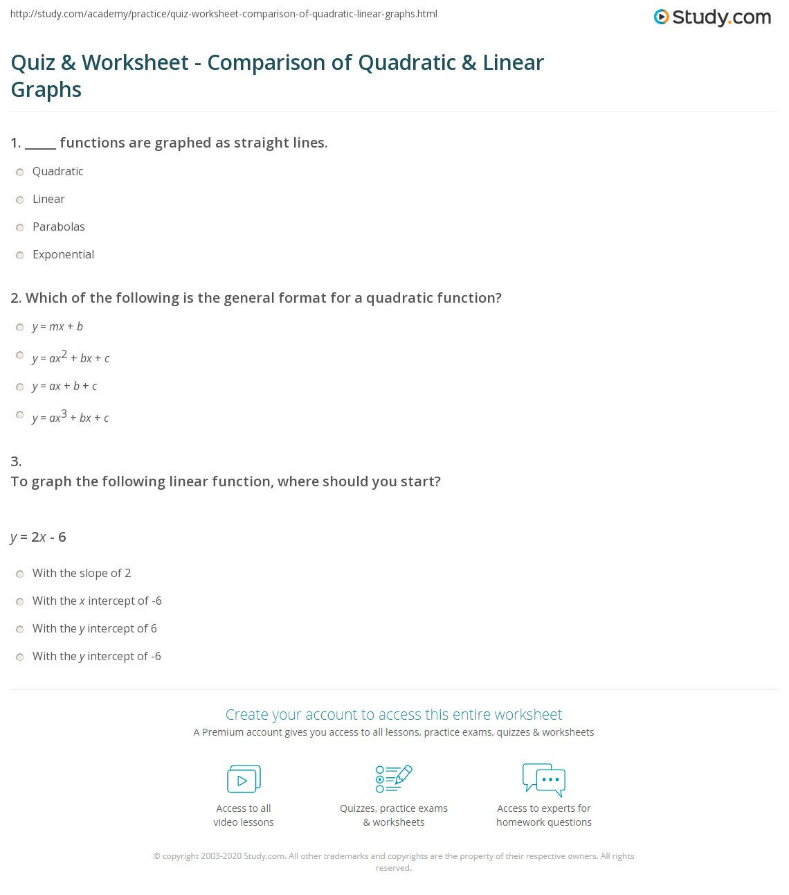 Quiz Worksheet Comparison Of Quadratic Linear Graphs