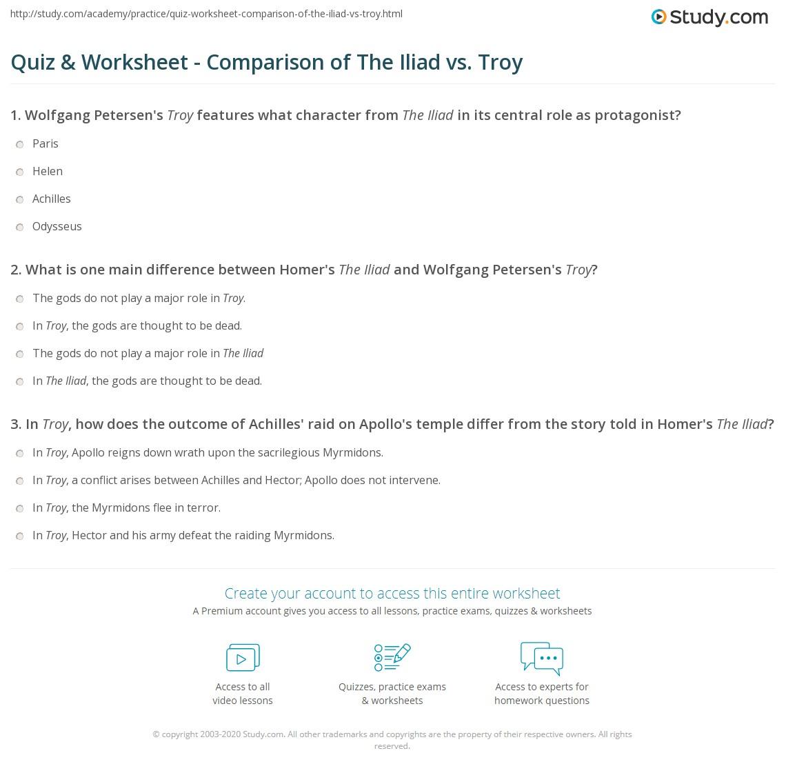 worksheet Troy Movie Worksheet quiz worksheet comparison of the iliad vs troy study com print differences similarities between worksheet