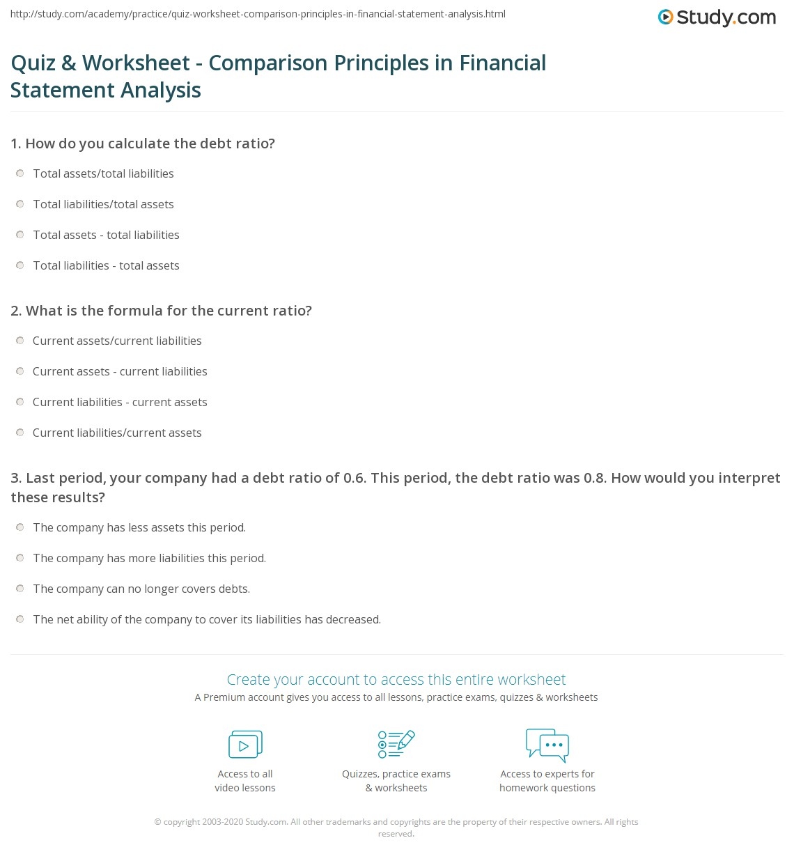Print Standards For Comparison In Financial Statement Analysis Worksheet