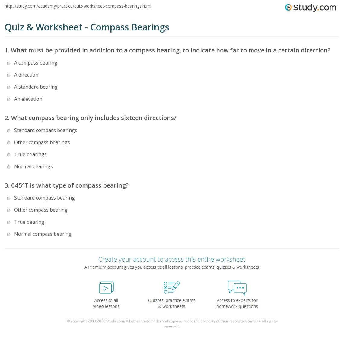 Quiz & Worksheet - Compass Bearings | Study.com
