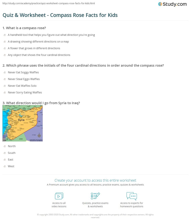 Worksheets Compass Rose Worksheets quiz worksheet compass rose facts for kids study com print lesson worksheet