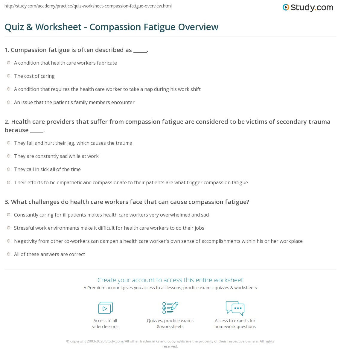 quiz & worksheet - compassion fatigue overview | study