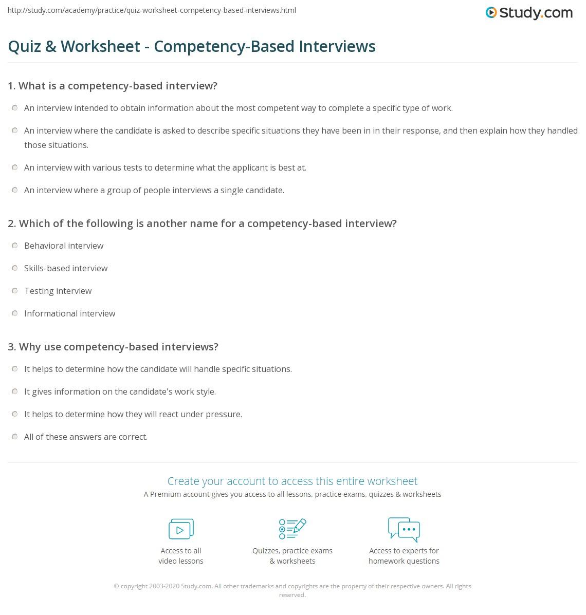 quiz worksheet competency based interviews com print what is a competency based interview examples overview worksheet