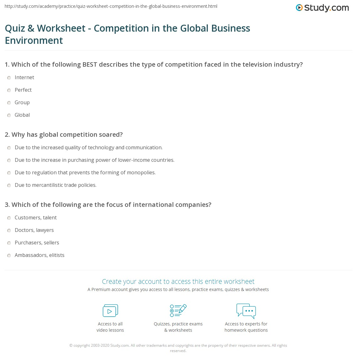 Quiz worksheet competition in the global business environment print competition in the global business environment explanation examples worksheet yelopaper Images