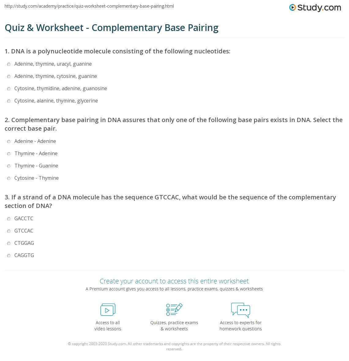 quiz worksheet complementary base pairing. Black Bedroom Furniture Sets. Home Design Ideas