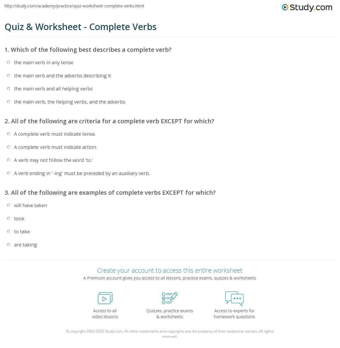 Quiz Worksheet Complete Verbs Study