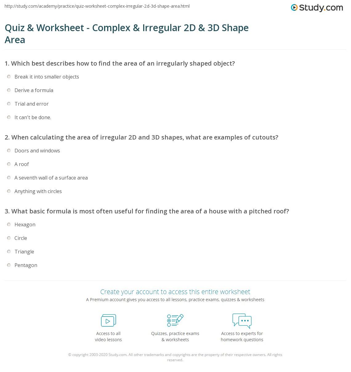 Quiz Worksheet Complex Irregular 2D 3D Shape Area – 2d and 3d Shapes Worksheets