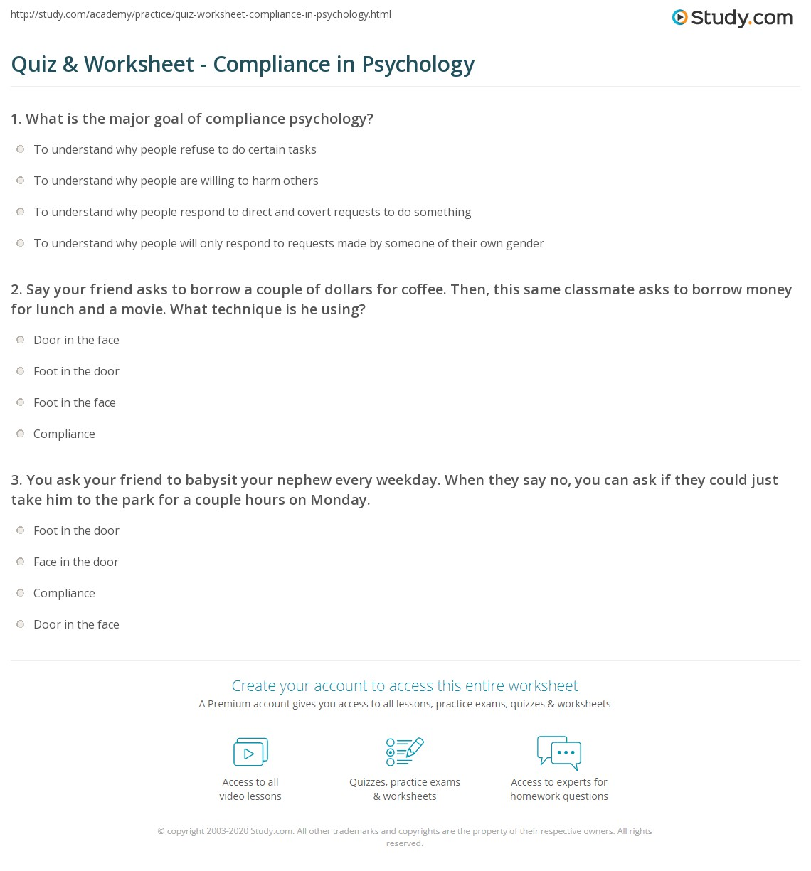 Quiz & Worksheet - Compliance in Psychology | Study.com