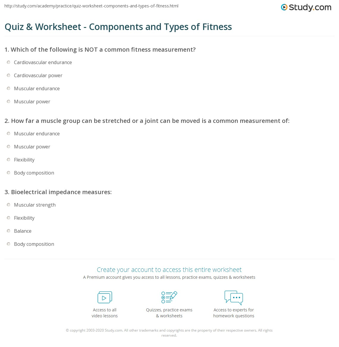 Quiz Worksheet Components and Types of Fitness – Fitness Worksheets