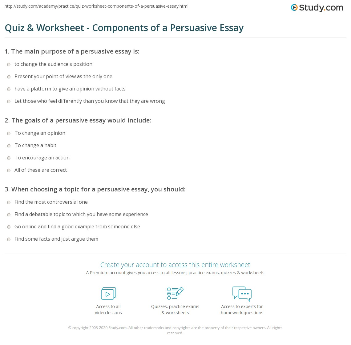 persuasive thesis statement worksheet When you are writing an essay, it is important to spend time focusing particularly on your thesis this lesson provides you with some examples of.