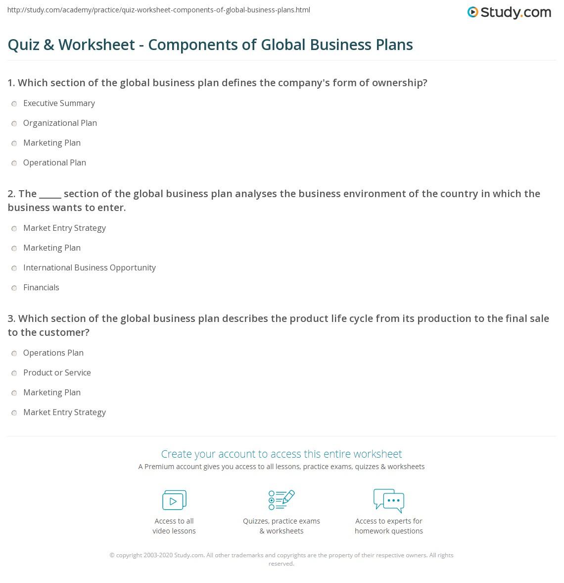 quiz worksheet components of global business plans study com
