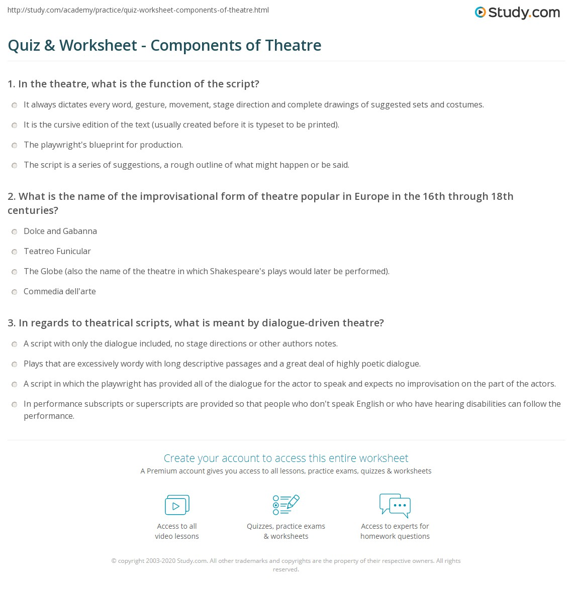 Quiz & Worksheet - Components of Theatre | Study com