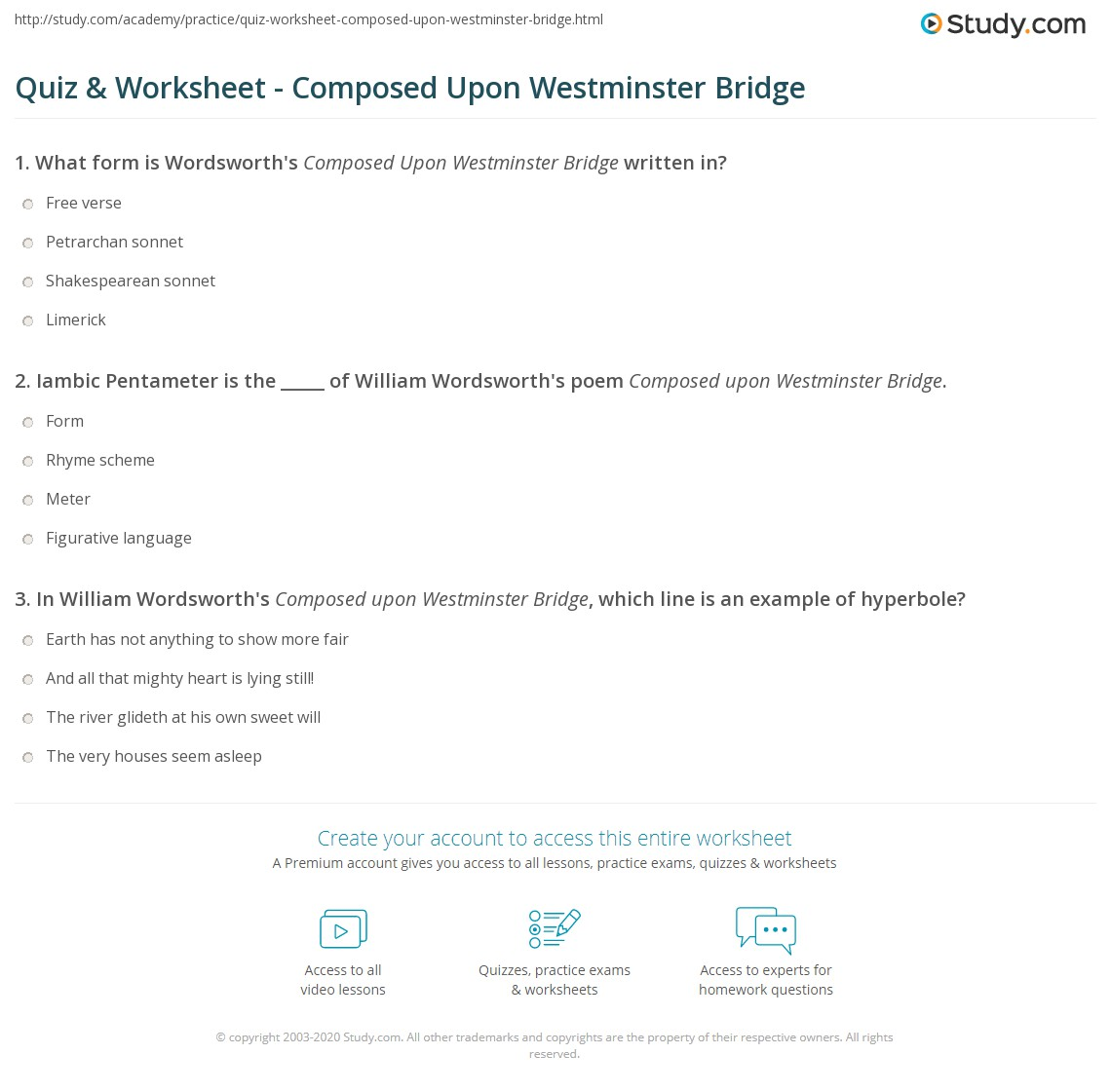 analysis of lines composed upon westminster bridge by william wordsworth Comparison of london by william blake and lines composed upon westminster bridge by william wordsworth 'earth has nothing to show more fair', taken from william wordsworths 'lines composed upon westminster bridge,' could not be more of a contrast to the way william blake describes what he sees in his poem 'london'.