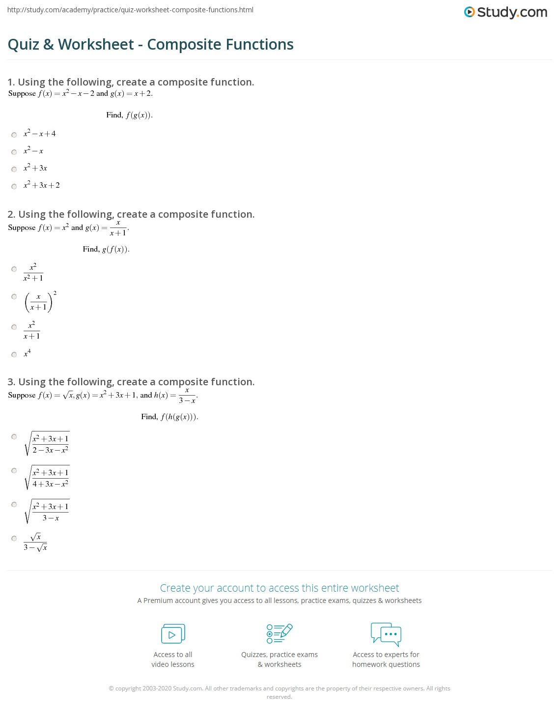 Quiz Worksheet Composite Functions