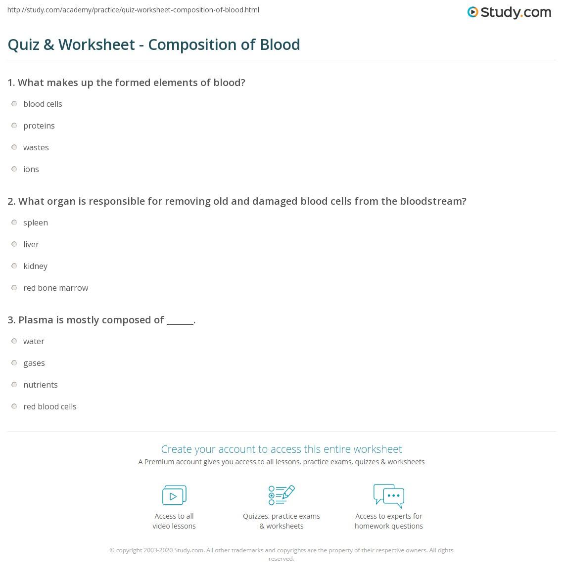 blood composition worksheet resultinfos. Black Bedroom Furniture Sets. Home Design Ideas