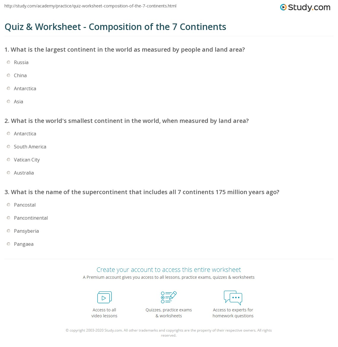 Worksheets 7 Continents Worksheet quiz worksheet composition of the 7 continents study com print seven countries cultures politics religion worksheet