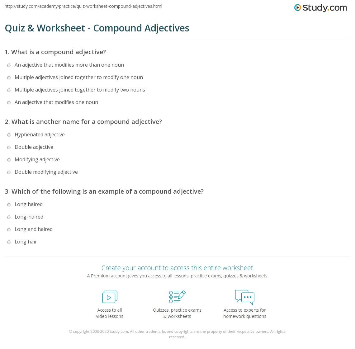Quiz Worksheet Compound Adjectives Study