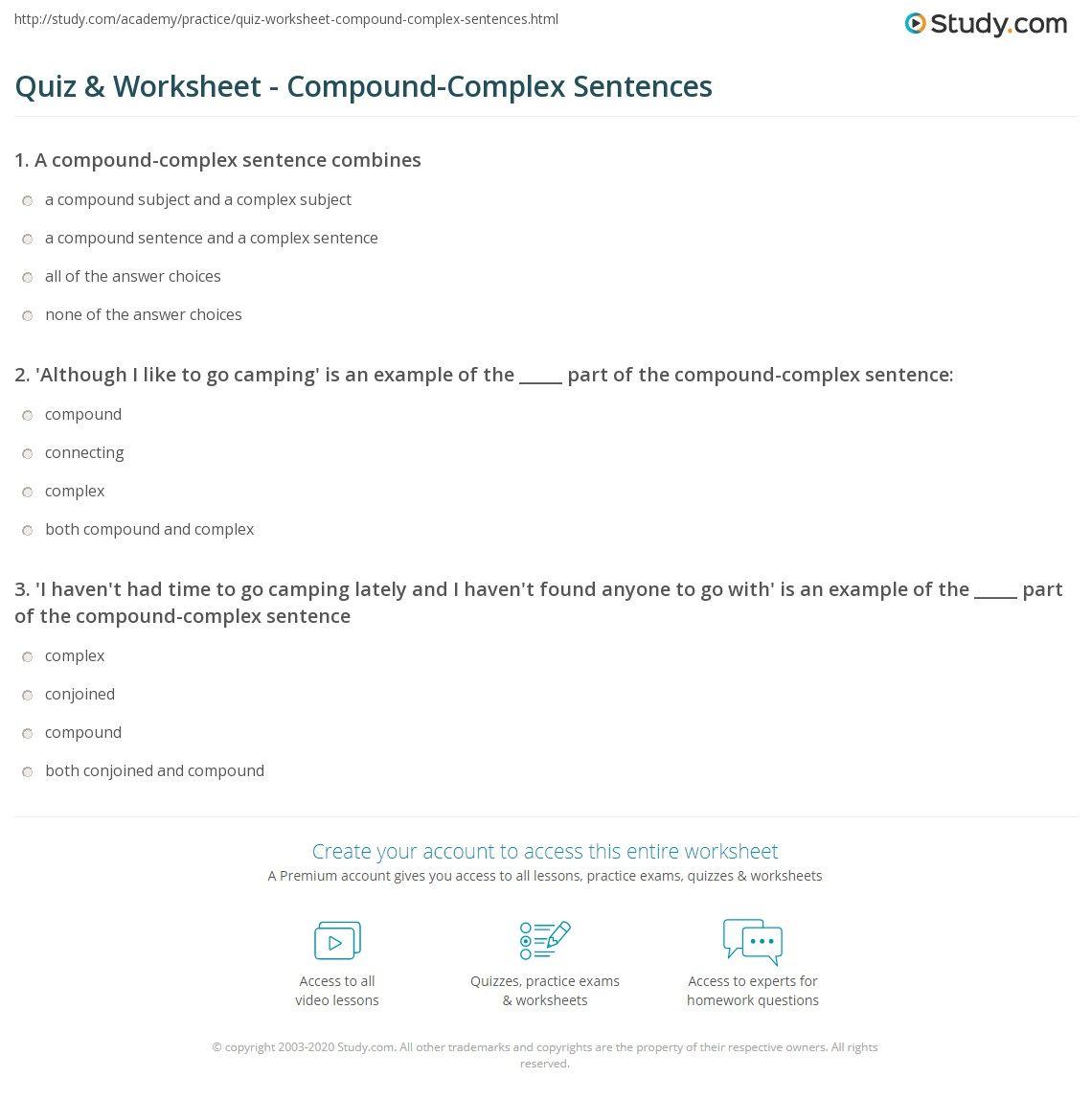 Worksheets Quiz On Types Of Sentences Simple Compound Complex Compound-complex quiz worksheet compound complex sentences study com print sentence definition examples worksheet