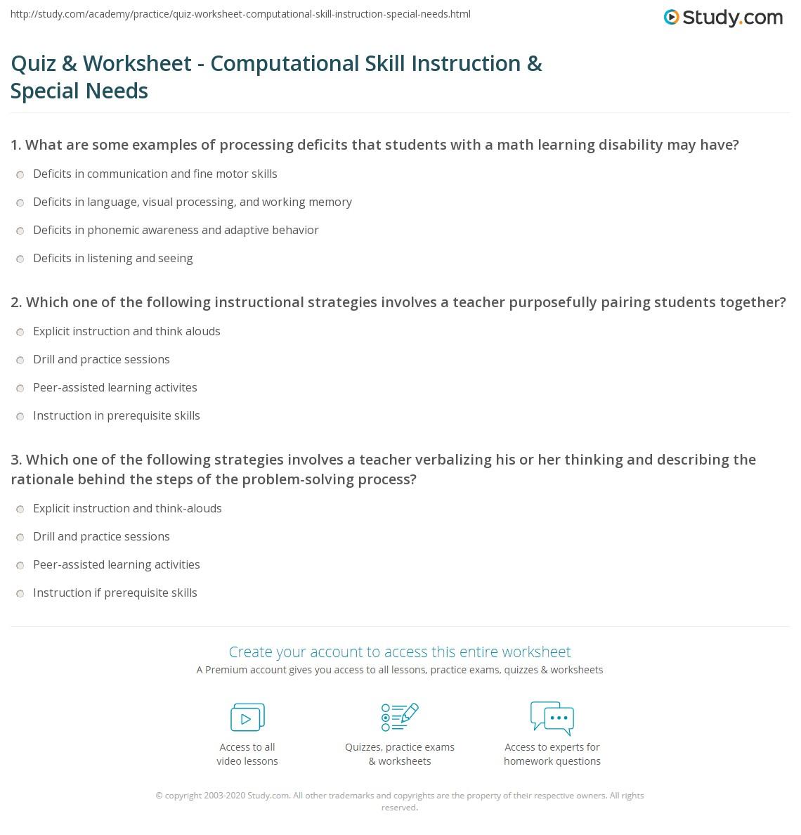 Quiz Worksheet Computational Skill Instruction Special Needs