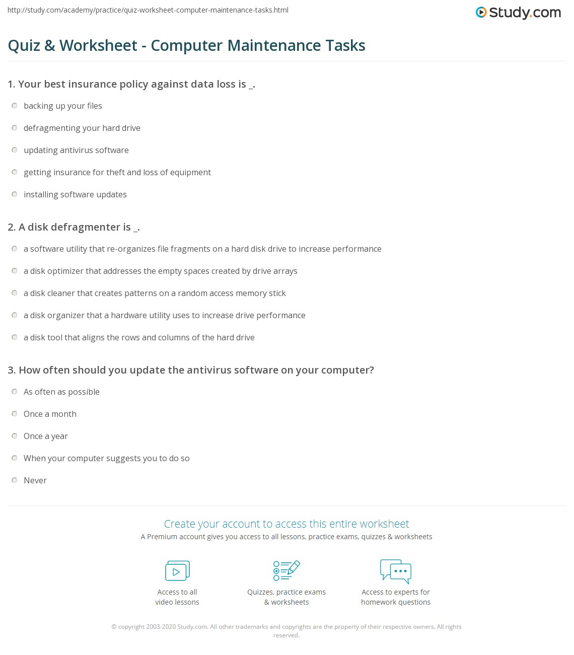 Quiz & Worksheet - Computer Maintenance Tasks | Study com