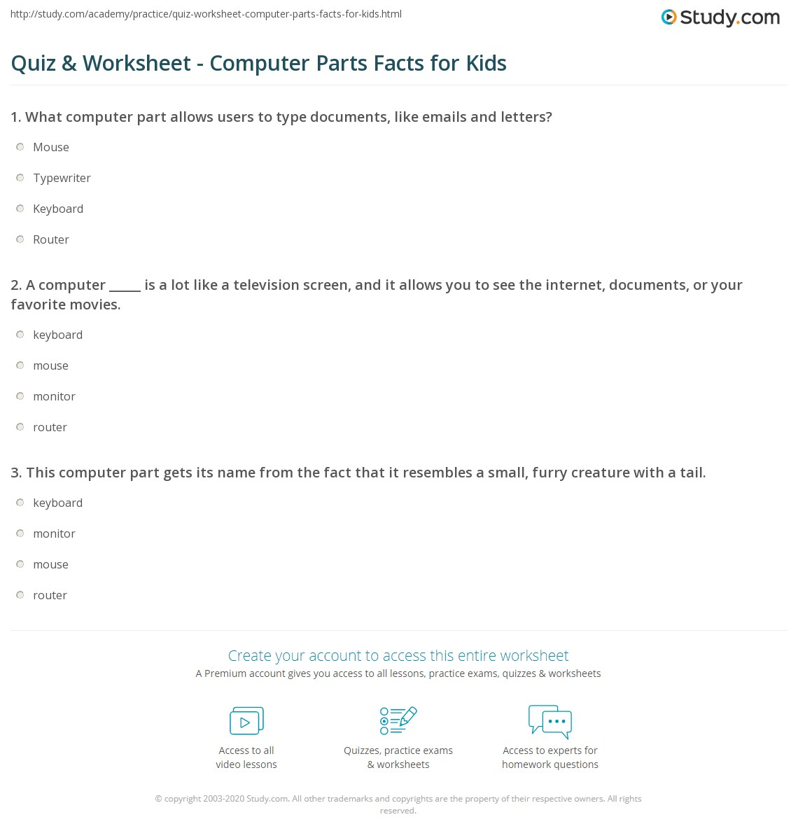 Quiz Worksheet Computer Parts Facts For Kids Study Com
