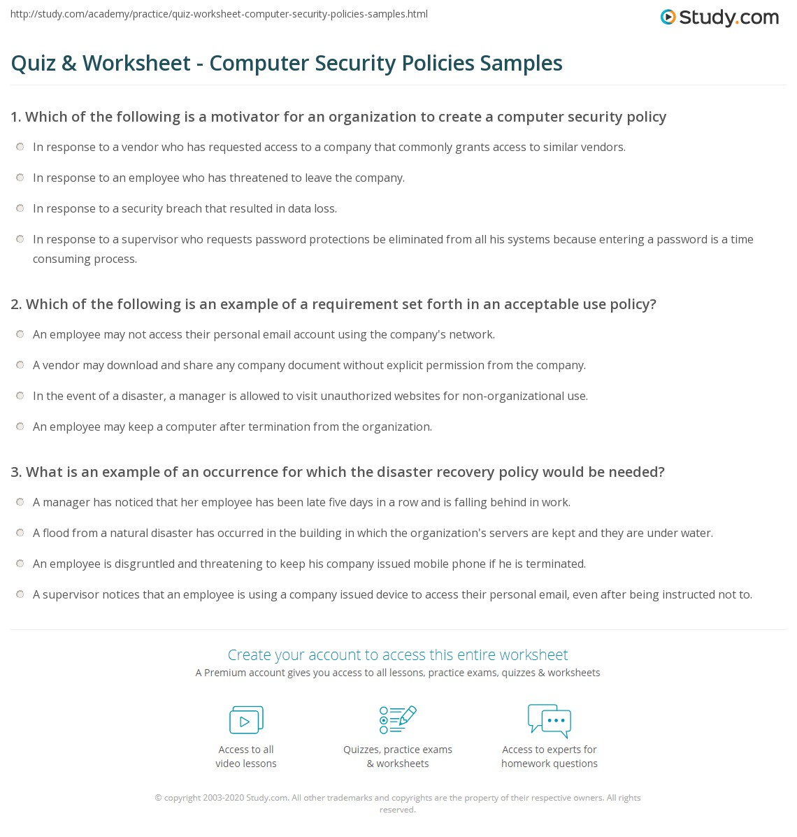 Computer Use Policy Template Quiz Worksheet Computer Security Policies Samples