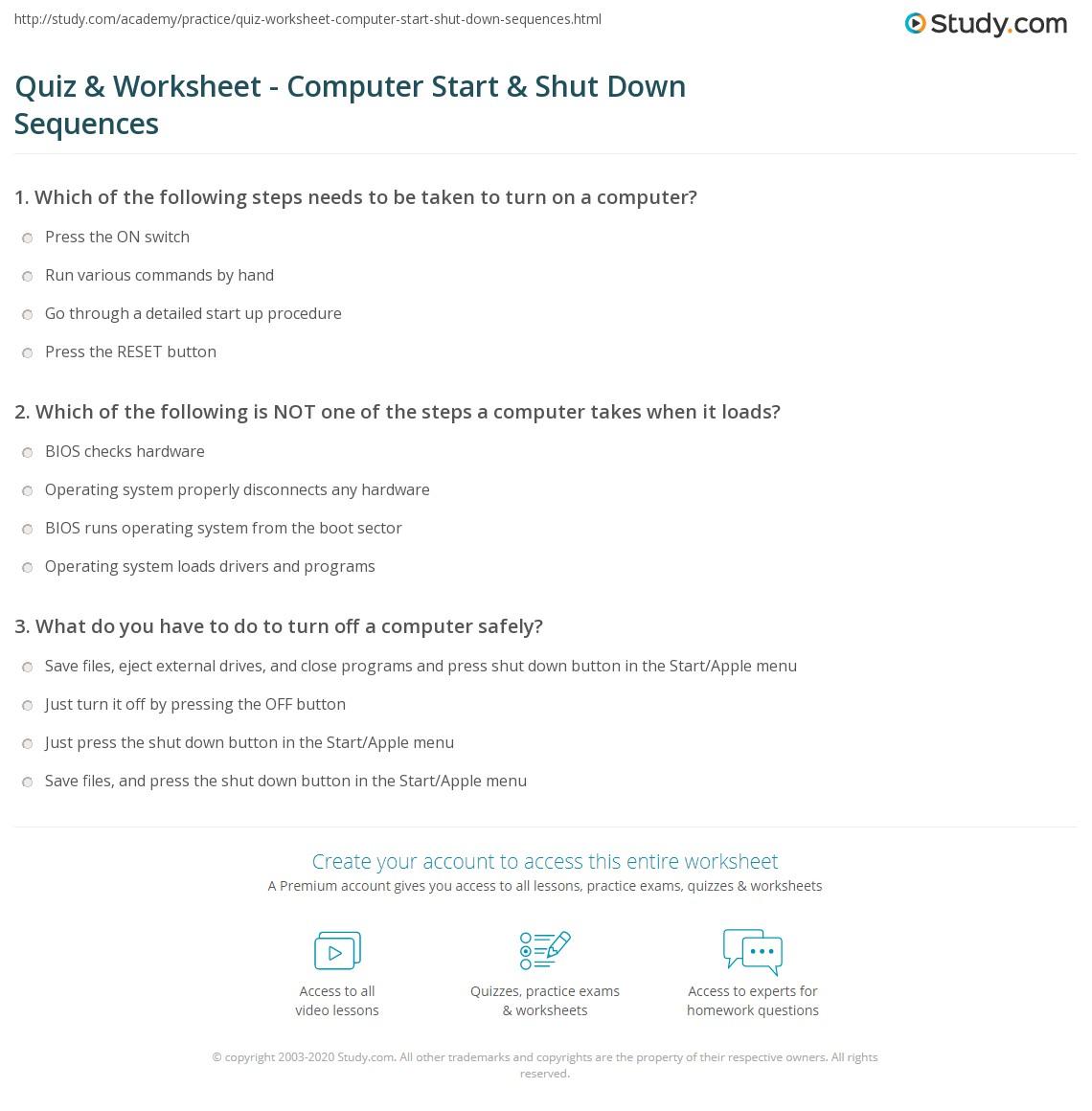 Quiz & Worksheet - Computer Start & Shut Down Sequences | Study.com