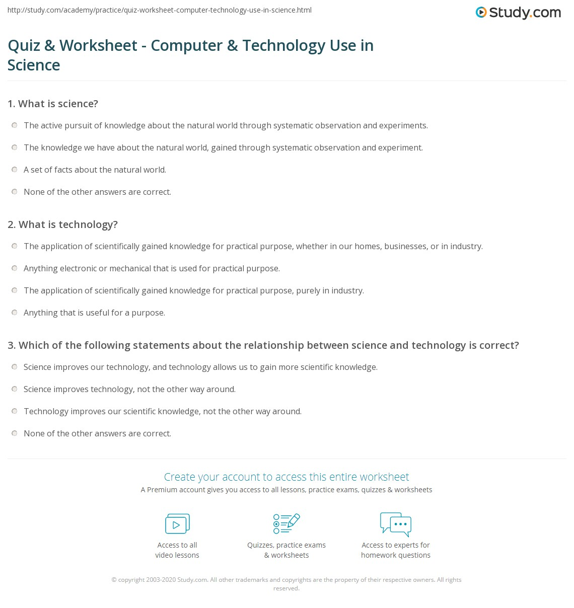 Quiz Worksheet Computer Technology Use In Science Study Com