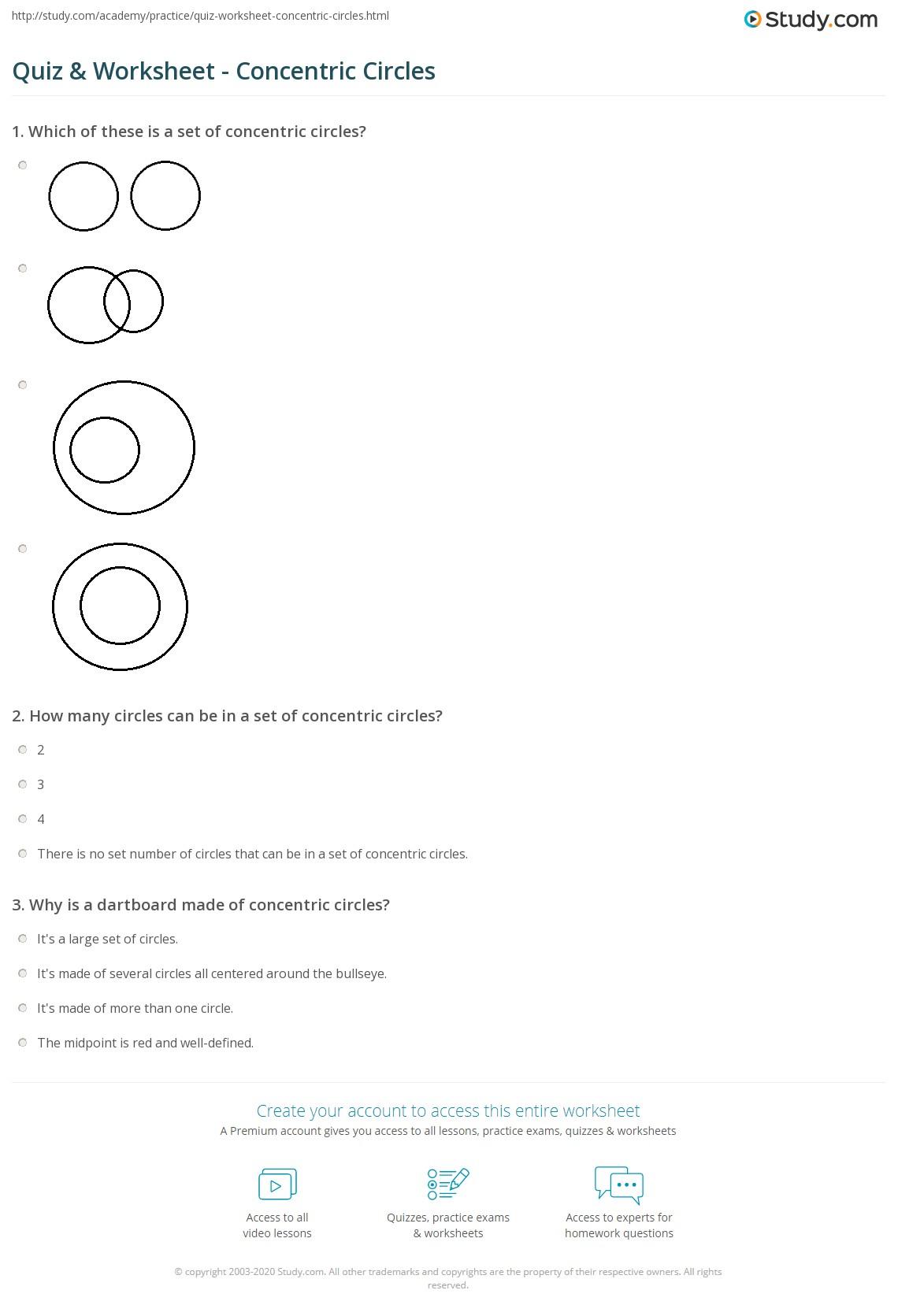 worksheet Circle Worksheet quiz worksheet concentric circles study com print definition examples worksheet