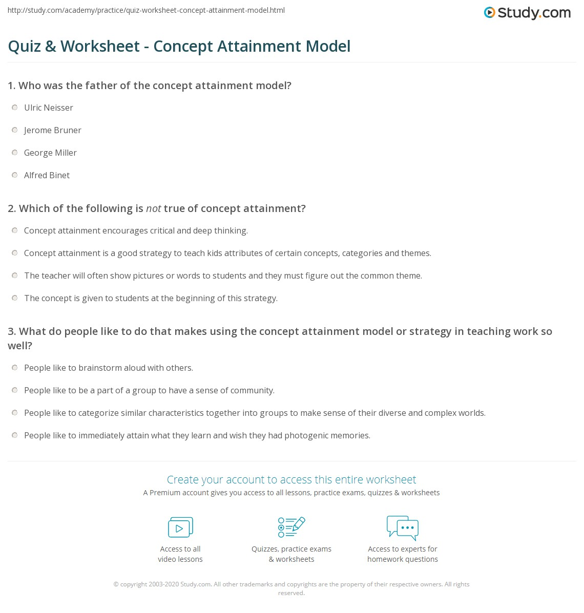 Print Concept Attainment: Model & Strategy Worksheet