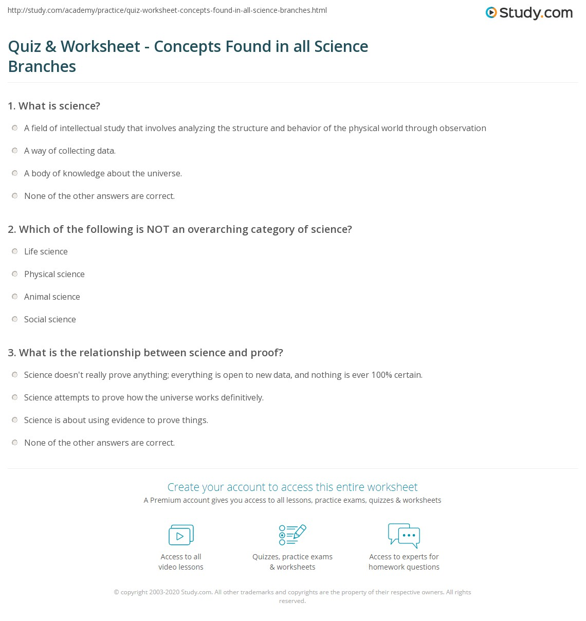 worksheet Branches Of Science Worksheet quiz worksheet concepts found in all science branches study com print unifying common to sciences worksheet
