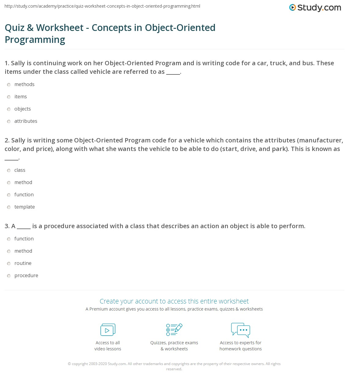 Quiz & Worksheet - Concepts in Object-Oriented Programming