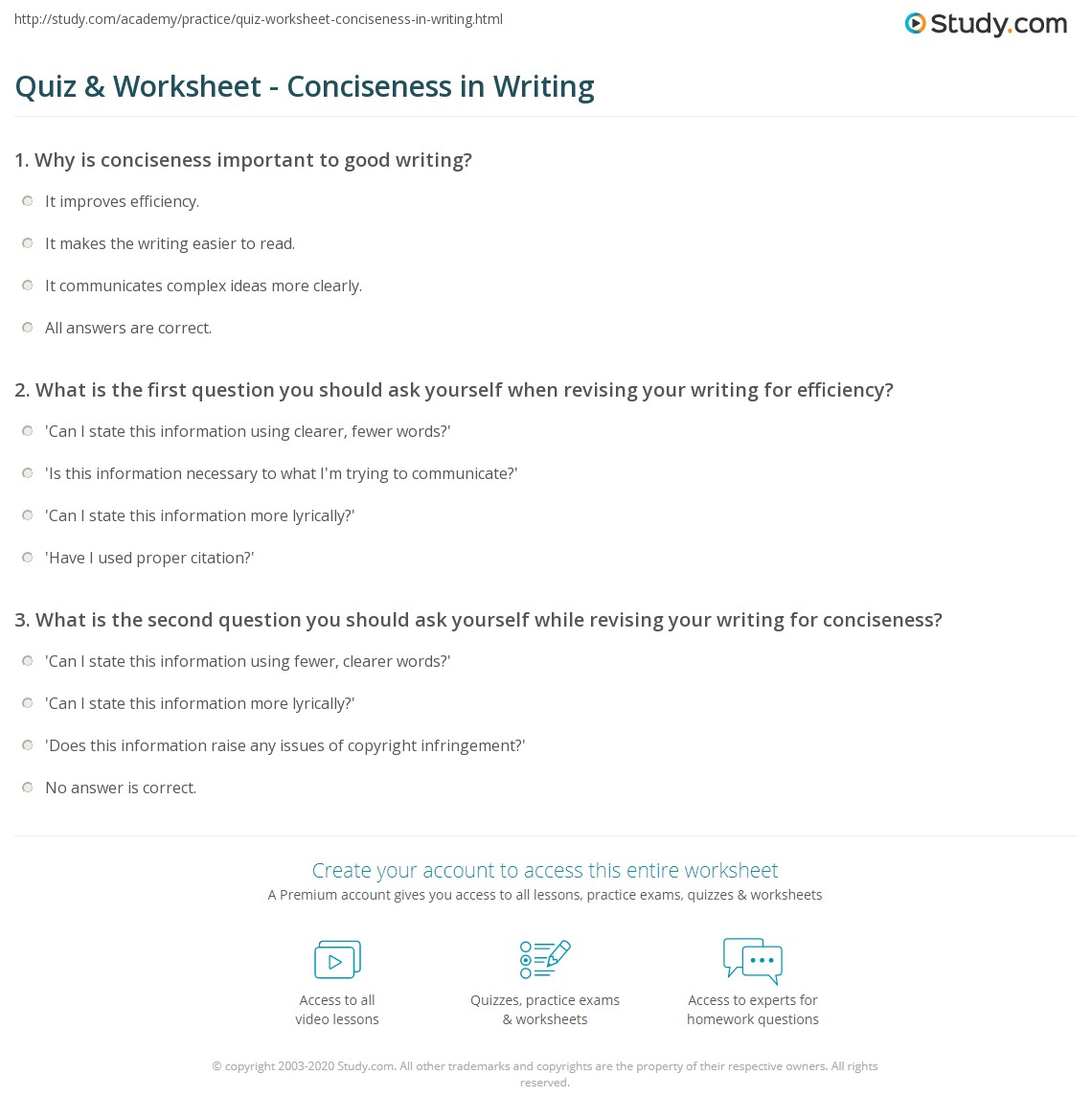 Quiz Worksheet Conciseness In Writing Study
