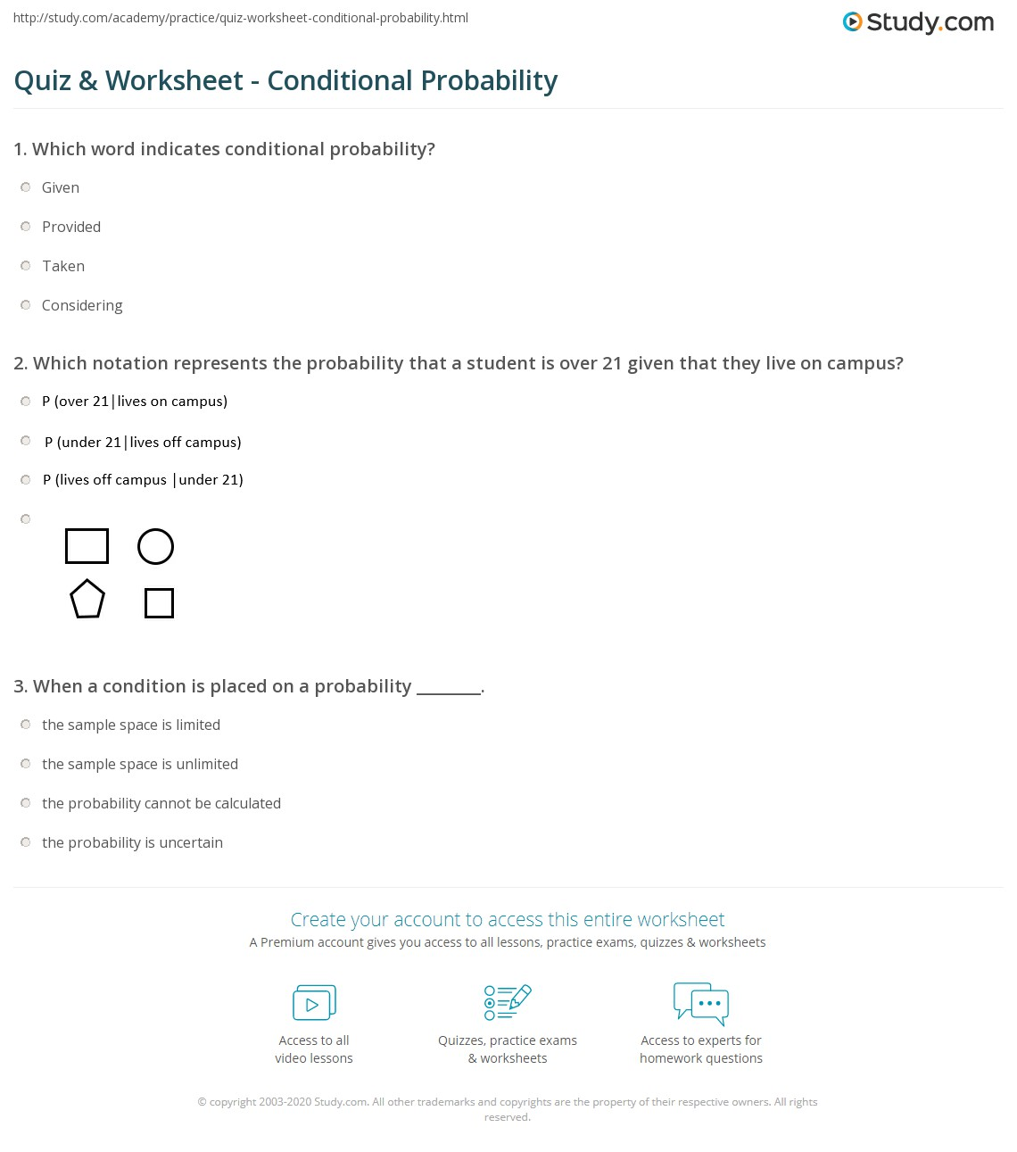 quiz worksheet conditional probability. Black Bedroom Furniture Sets. Home Design Ideas