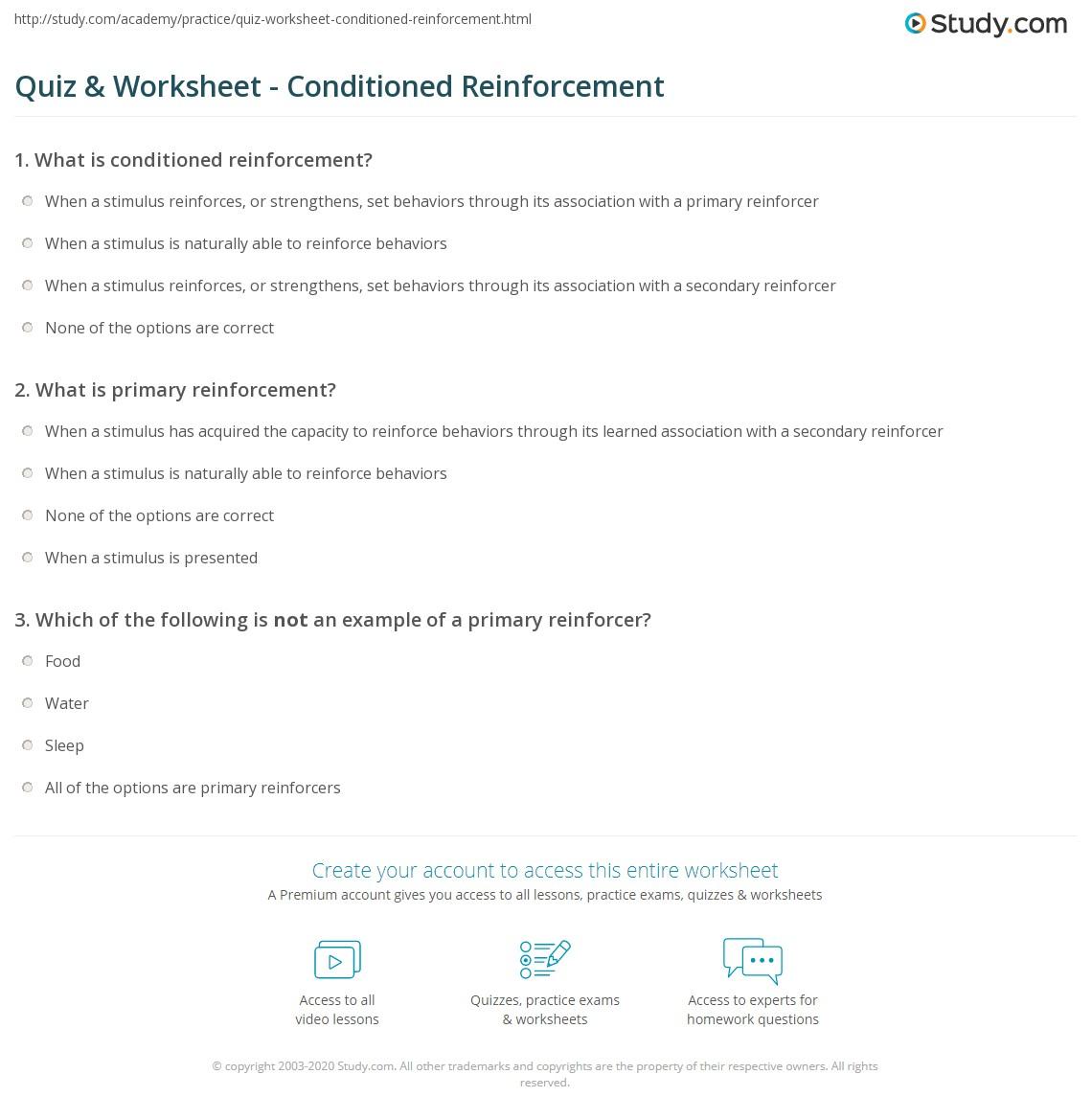 Quiz & Worksheet - Conditioned Reinforcement   Study.com