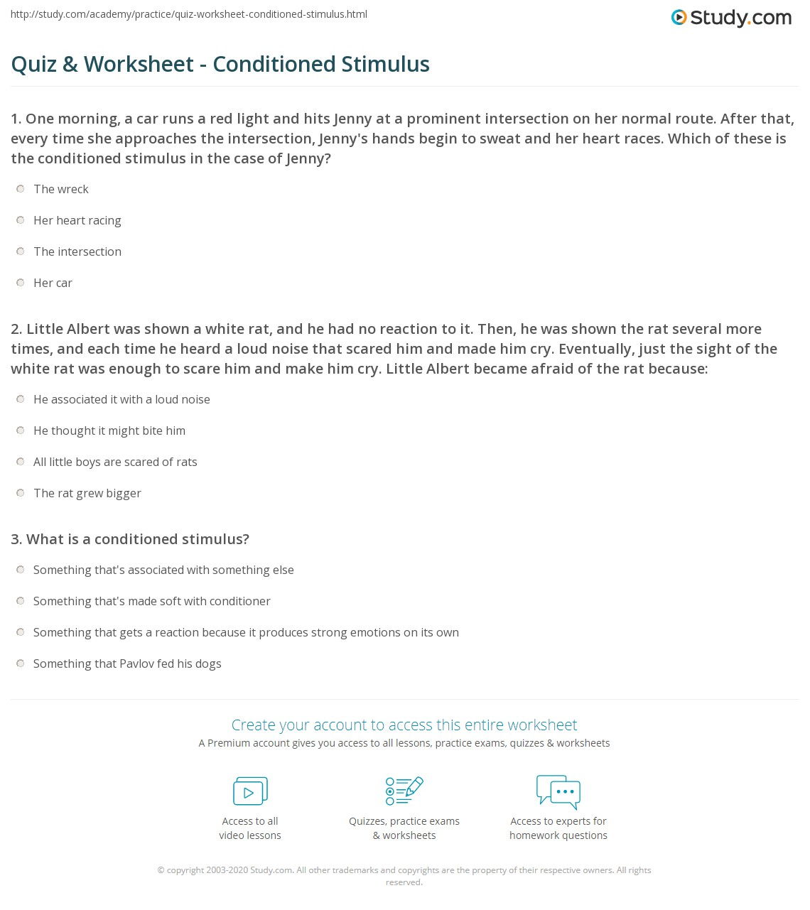 Quiz Worksheet Conditioned Stimulus Study
