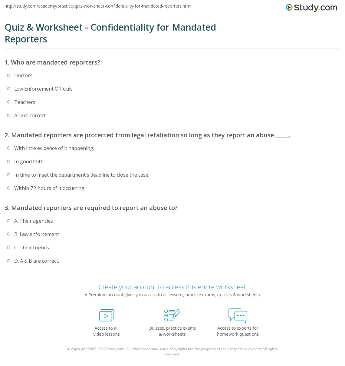 Quiz Worksheet Confidentiality For Mandated Reporters Study