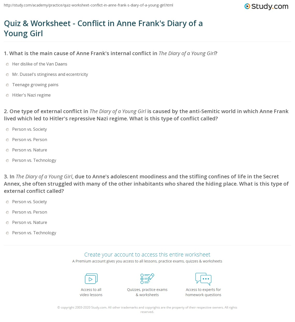 Quiz Worksheet Conflict in Anne Franks Diary of a Young Girl – Internal and External Conflict Worksheets
