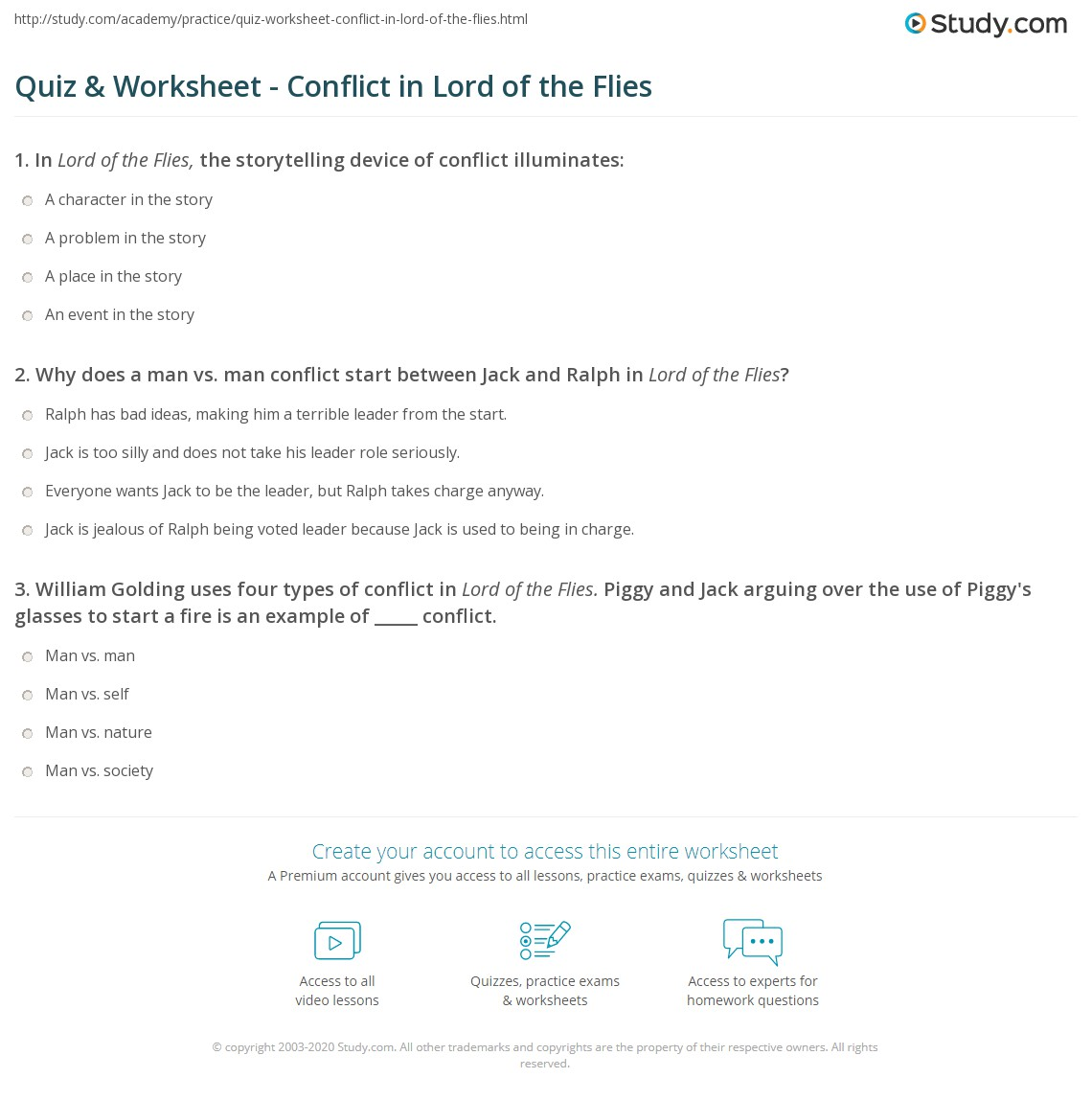 Worksheets Lord Of The Flies Worksheets quiz worksheet conflict in lord of the flies study com print worksheet