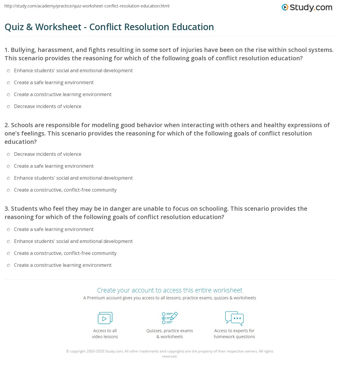 quiz & worksheet - conflict resolution education | study
