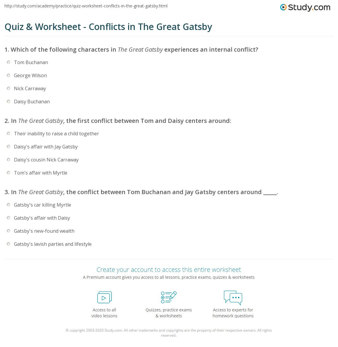 worksheet The Great Gatsby Worksheets quiz worksheet conflicts in the great gatsby study com print worksheet