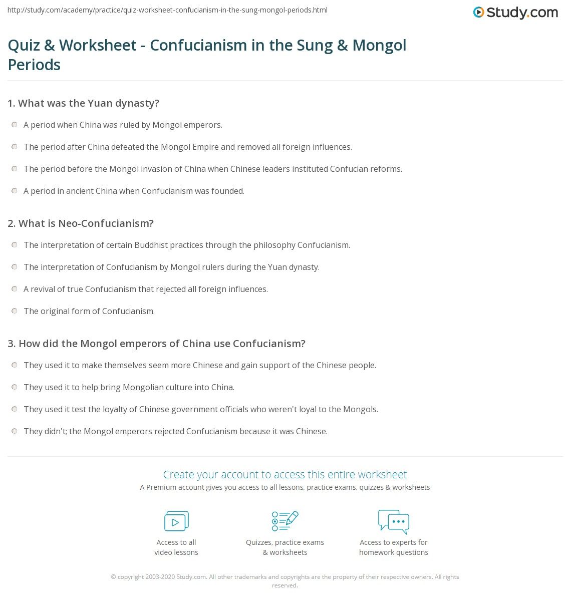 quiz worksheet confucianism in the sung mongol periods. Black Bedroom Furniture Sets. Home Design Ideas