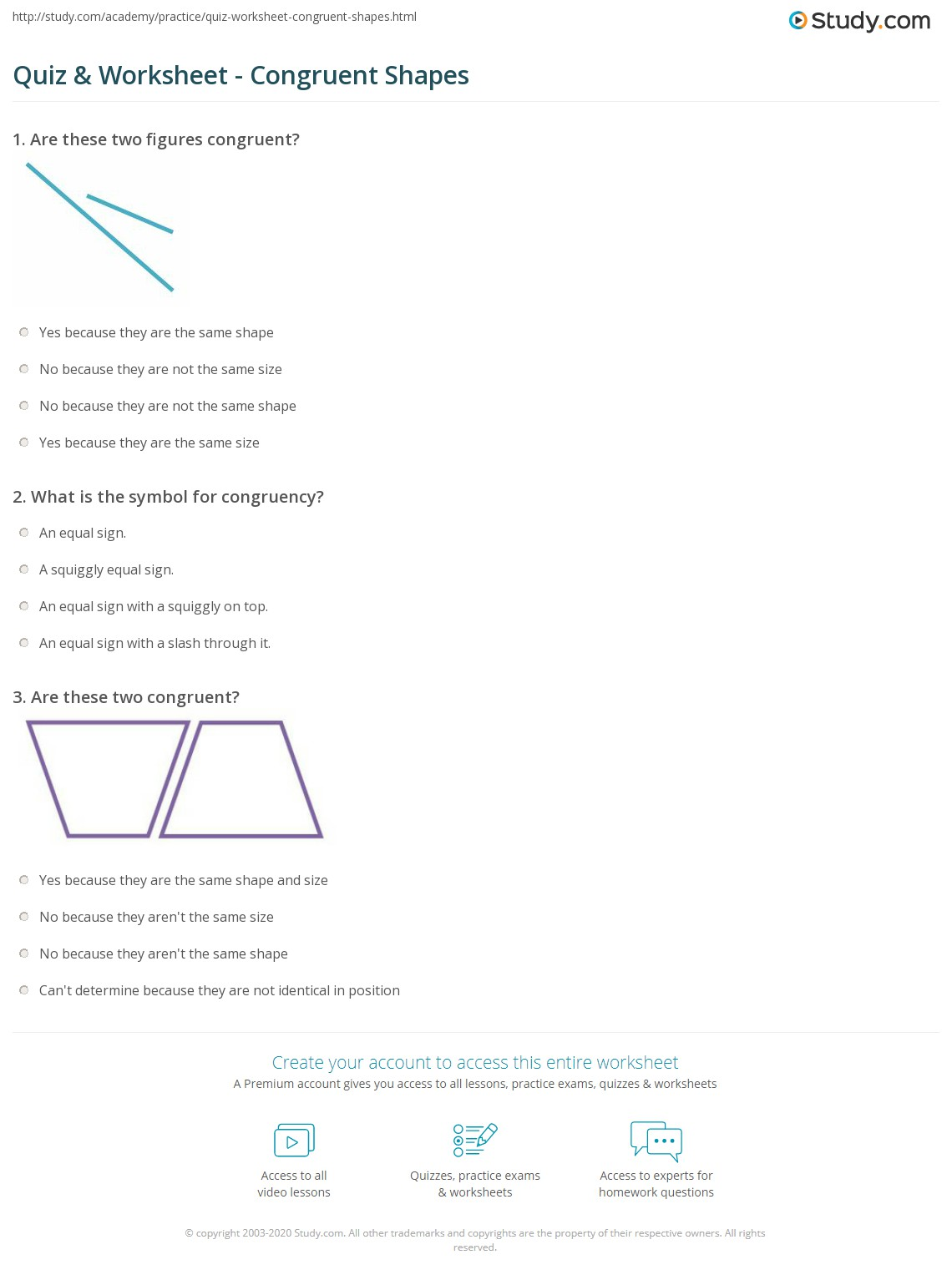 Quiz Worksheet Congruent Shapes Study Com