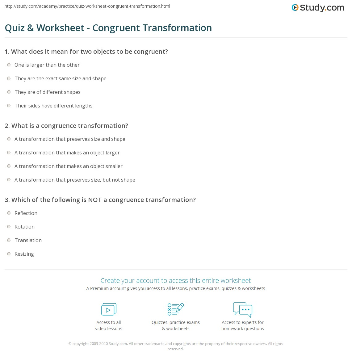 Worksheets Transformations And Congruence Worksheet quiz worksheet congruent transformation study com print congruence definition theorems worksheet