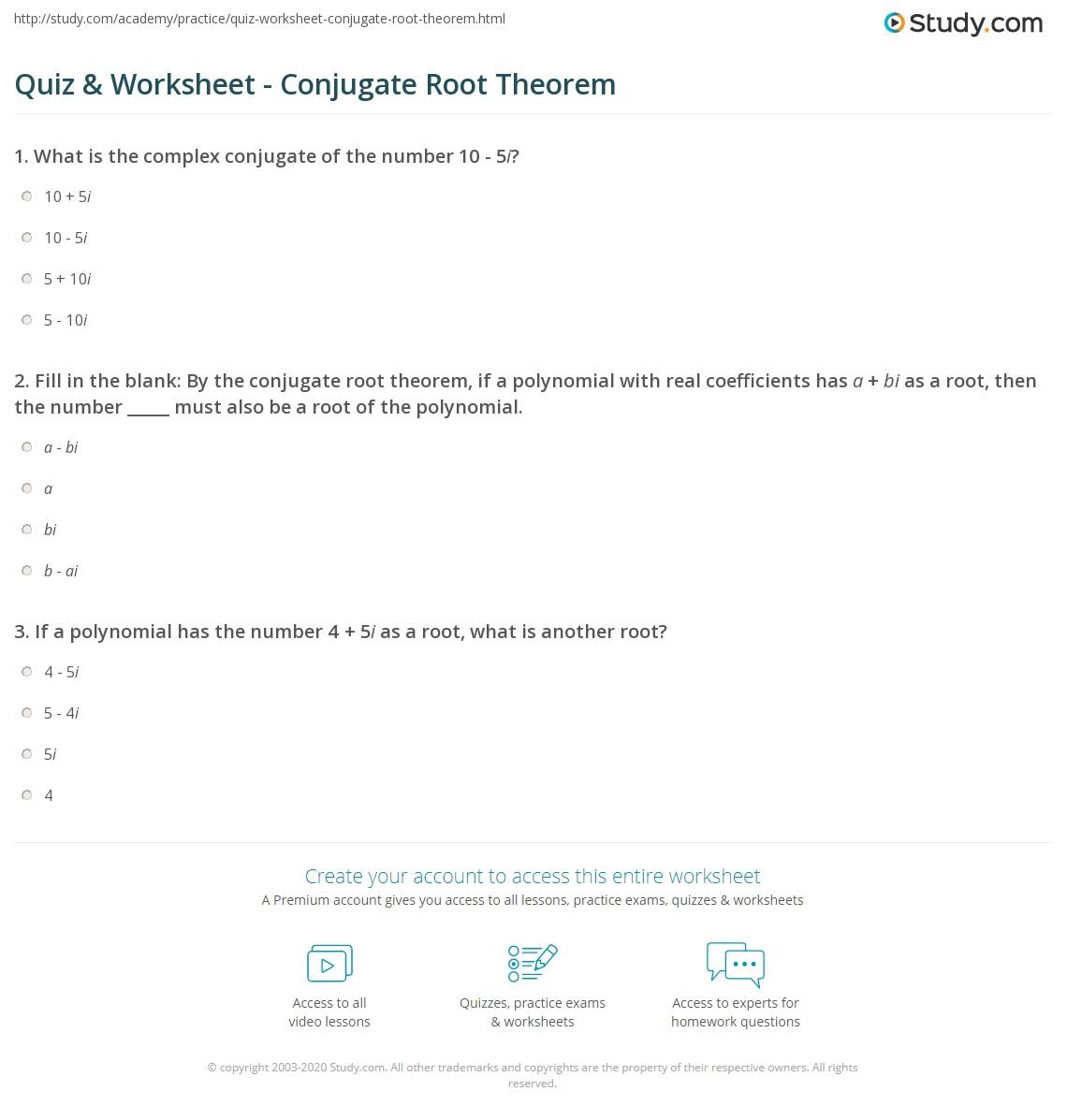 Quiz Worksheet Conjugate Root Theorem Study Com